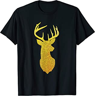 Gold Glitter Reindeer Shirt - Deer Head Christmas Tee