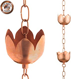Marrgon Copper Rain Chain – Decorative Chimes & Cups Replace Gutter Downspout & Divert Water Away from Home for Stunning Fountain Display – 6.5' Long for Universal Fit – Flower Style