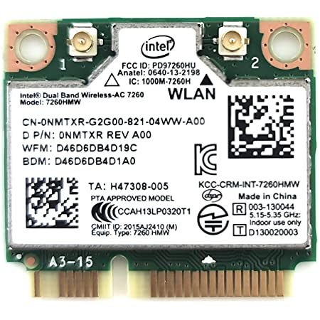Intel 7260.HMW Dual Band Wireless-AC 7260 Network Adapter PCI Express Half Mini Card 802.11 b/a/g/n/ac