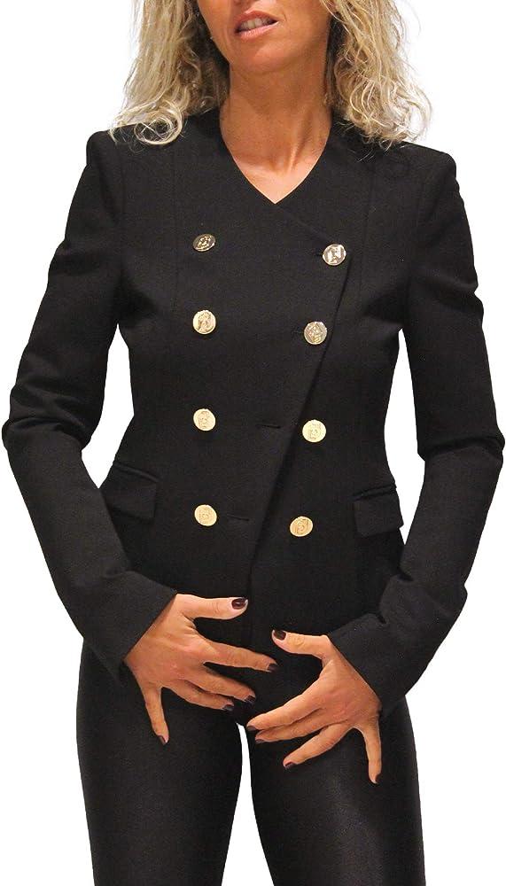 Liu jo, giacca per donna,70% viscosa, 26% poliestere, 4% elastan,giacca con bottoni oro, scollatura a v CF0048 J1857