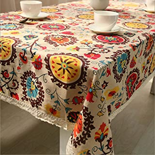lelehome Antique Sunflowers Floral Tablecloth Durable Cotton Vintage Laciness Linen Embroidered Washable Dinner Picnic Table Cover(55.1X86.7IN)