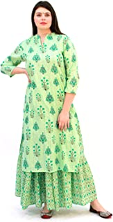 Lastinch Women's Green Printed Kurta with Flared Skirt Set for All Plus Size and Small Size (Size: XXS -8XL)