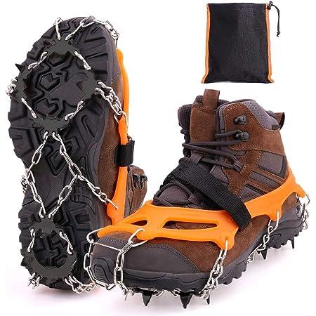 MIZOMOR Crampones Nieve Hielo Crampones Ligeros Racos de Hielo Tracción Antideslizante Más de Zapatos con 8 Dientes de Acero al Manganeso para Montañismo Senderismo Alpinismo Cámping TPE Naranja