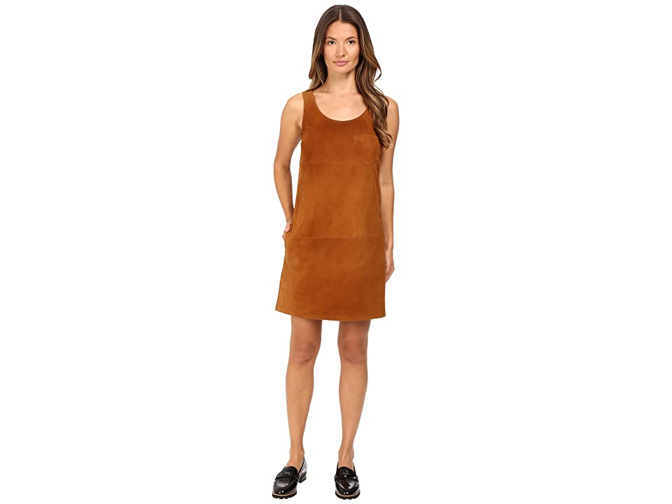 ATM Anthony Thomas Melillo V-Neck Suede Dress (Cognac) Women