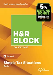 [OLD VERSION] H&R Block Tax Software Basic 2018 with 5% Refund Bonus Offer [Amazon Exclusive] [PC Download]