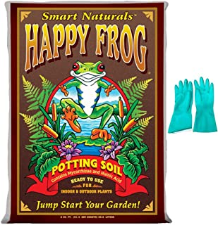 Fox Farm Happy Frog Organic Potting Soil Mix Indoor Outdoor Garden Plants, 51.4 Quart(2 cu ft) (Bundled with Pearsons Protective Gloves)