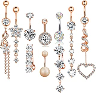 14 Gauge Dangle CZ Belly Button Rings for Women Beach Barbell Navel Body Piercing Jewelry