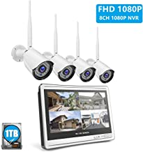 [All-in-One] 8Channel 1080P NVR Security Camera System, 12 Inches LCD Display with 4Pcs 1080P Indoor Outdoor Wireless Wifi IP Cameras, IP66 Weatherproof, P2P, IR Night Vision, 1TB HDD