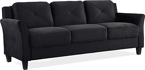Lifestyle Solutions KD Rolled Arm Collection Grayson Micro Fabric Sofa 80 3 X32 X32 68 Black
