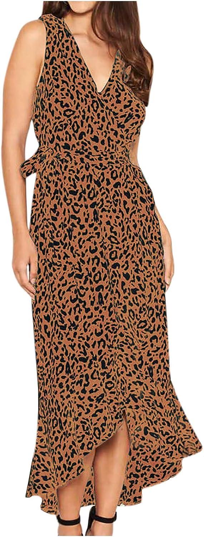 Maxi Regular discount Dresses for Women Casual Leopard Sleeveless Mermaid Max 81% OFF V-Neck