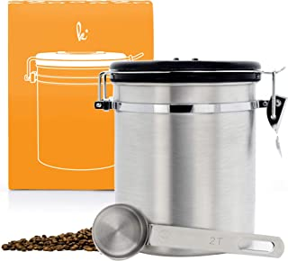 Coffee Storage Container with Scoop - Airfresh Valve Stainless Steel Metal Canister for Fresher Coffee Ground or Beans (Vienna Silver)