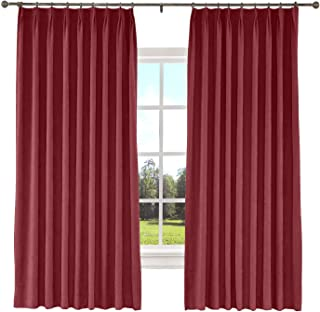 TWOPAGES 52 W x 63 L inch Pinch Pleat Blackout Curtain for Bedroom Polyester Cotton Blend Room Darkening Blackout Curtains with Liner, (1 Panel, Burgundy)