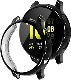 TASLAR Soft TPU Bumper Full Coverage Screen Guard Protector Cover Case Compatible with Samsung Galaxy Watch Active 2, 44mm (Black)