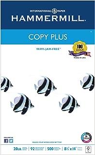 Hammermill 105015 Copy Plus Copy Paper, 92 Brightness, 20lb, 8-1/2 x 14, White, 500 Sheets/Ream