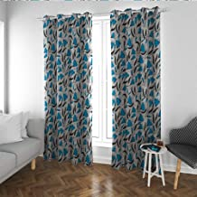 Blue Floral Shade soundproof Curtain Hand Drawn Summer Flowers with Greyscale Foliage Retro Doodle Living, Dining Room, Bedroom Curtains Blue Charcoal Grey Off White