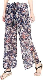 YiyiLai Women Chiffon Split Wide Leg Beach Drawstring Summer Trousers Pants