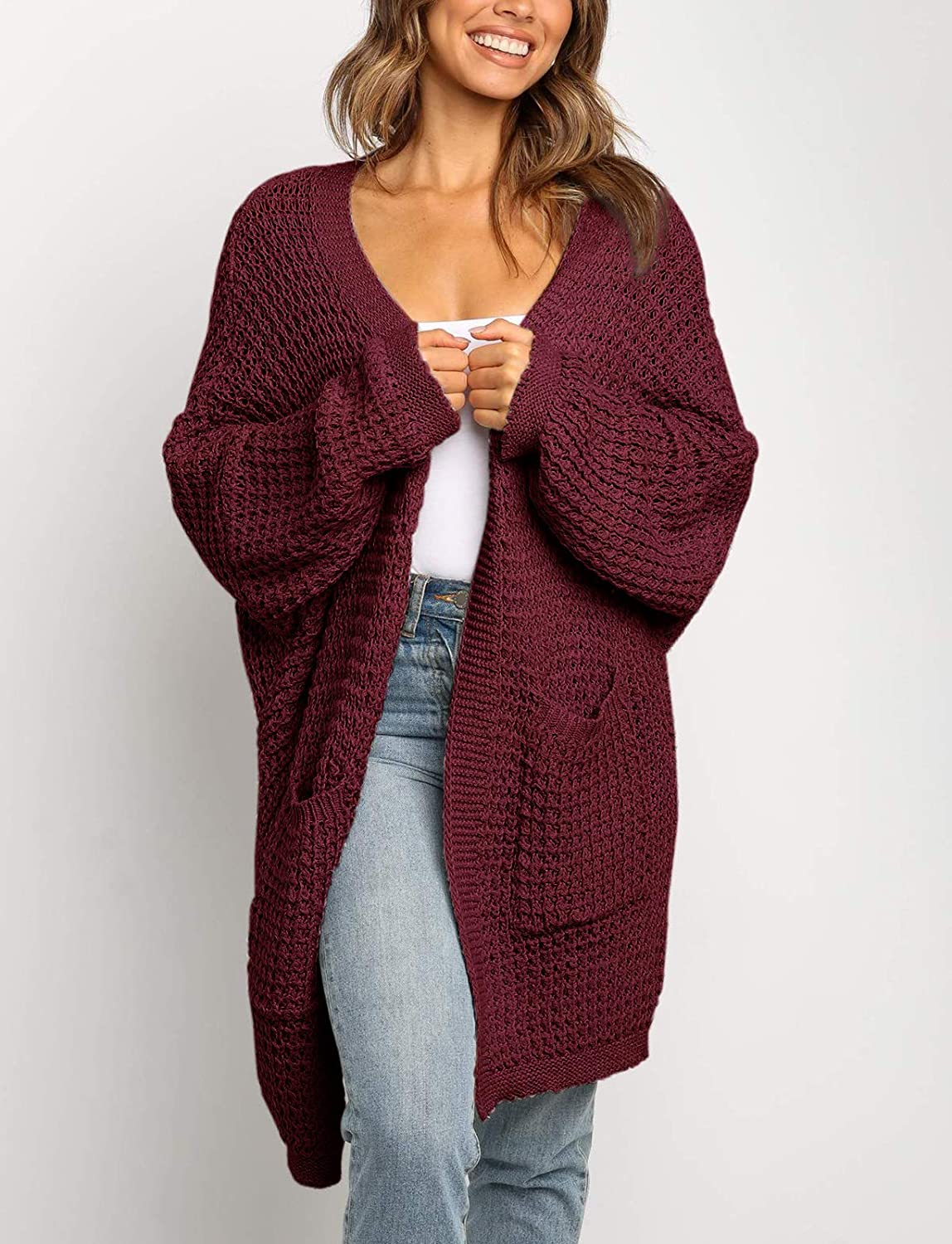 UEU Womens Long Batwing Sleeve Open Front Chunky Knit Cardigan Sweater with Pockets