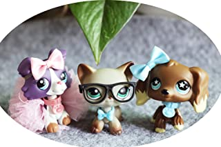 LPSLIKE LPS Cocker Spaniel Choclate 960 Star Eyes LPS Purple Collie 1676 Blue Eyes Dog Puppy LPS Shorthair Cat 391 Grey Green Eyes Figure Collection with Accessories Lot Boys Girls Kids Gift Set