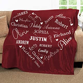 Qty 7 Throw Blanket with name Monogrammed Blankets Personalized Blankets for Adults Custom Plush Blankets Embroidered