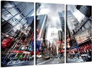 NYC Canvas Picture Wall Art : New York City Time Square Cityscape Painting Artwork Print on Wrapped Canvas for Office (34'' x 20'' x 3 Panels)