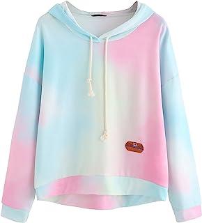 SweatyRocks Women's Long Sleeve Hoodie Sweatshirt Colorblock Tie Dye Print Pullover Shirt Blouse