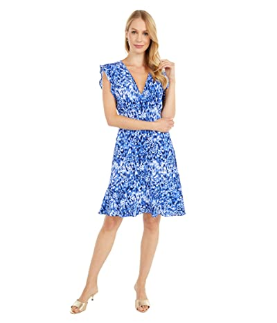 MICHAEL Michael Kors Tonal Ikat Texture Dress (True Navy) Women