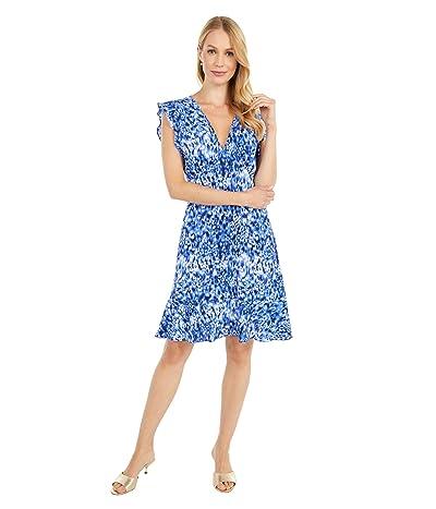 MICHAEL Michael Kors Tonal Ikat Texture Dress (True Navy) Women