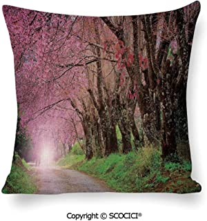 SCOCICI Linen Square Throw Pillow Cases National Park in Chiang Mai Cherry Bloss Protectors Cushion Covers for Sofa,18 x 18 Inch 45 cm