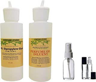 Perfume Making 5-Piece Set; 1, 4oz Perfumer's Alcohol Equivalent Solvent, 1, 4oz DiPropylene Glycol (DPG) Carrier Oil, 1, 1oz Empty Spray Bottle, 2, 7ml Roll-ons (Perfume Making Kits, 5-Piece Set)