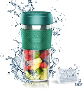 Portable Blender with Ice Cube Trays, 9 oz Mini Personal Blender for Juice, Shakes and Smoothies, Auto on/off Small Blender Cup USB Rechargeable, Perfect for Home, Travel, Office, Outdoor