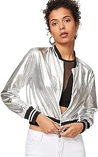 Women's Shiny Metallic Striped Lightweight Zip-up Bomber Jacket