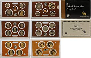 2011 S Gem 14-Piece Proof Set - Penny, Nickel, Dime, 5-ATB Natl Parks Quarters, Kennedy Half with Sacagawea Dollar and Presidential Dollars OGP - Excellent Proof Coins US Mint