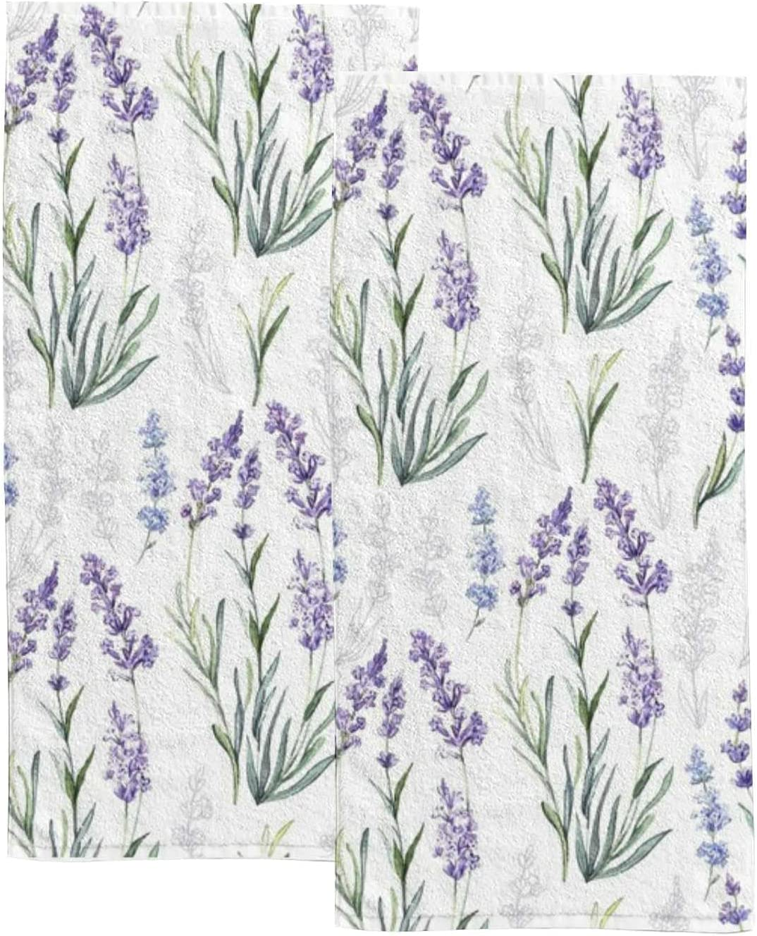 Light Purple Flowers Hand Quantity limited Towels Set 2021 spring and summer new Kitchen Towe 2 Bathroom for