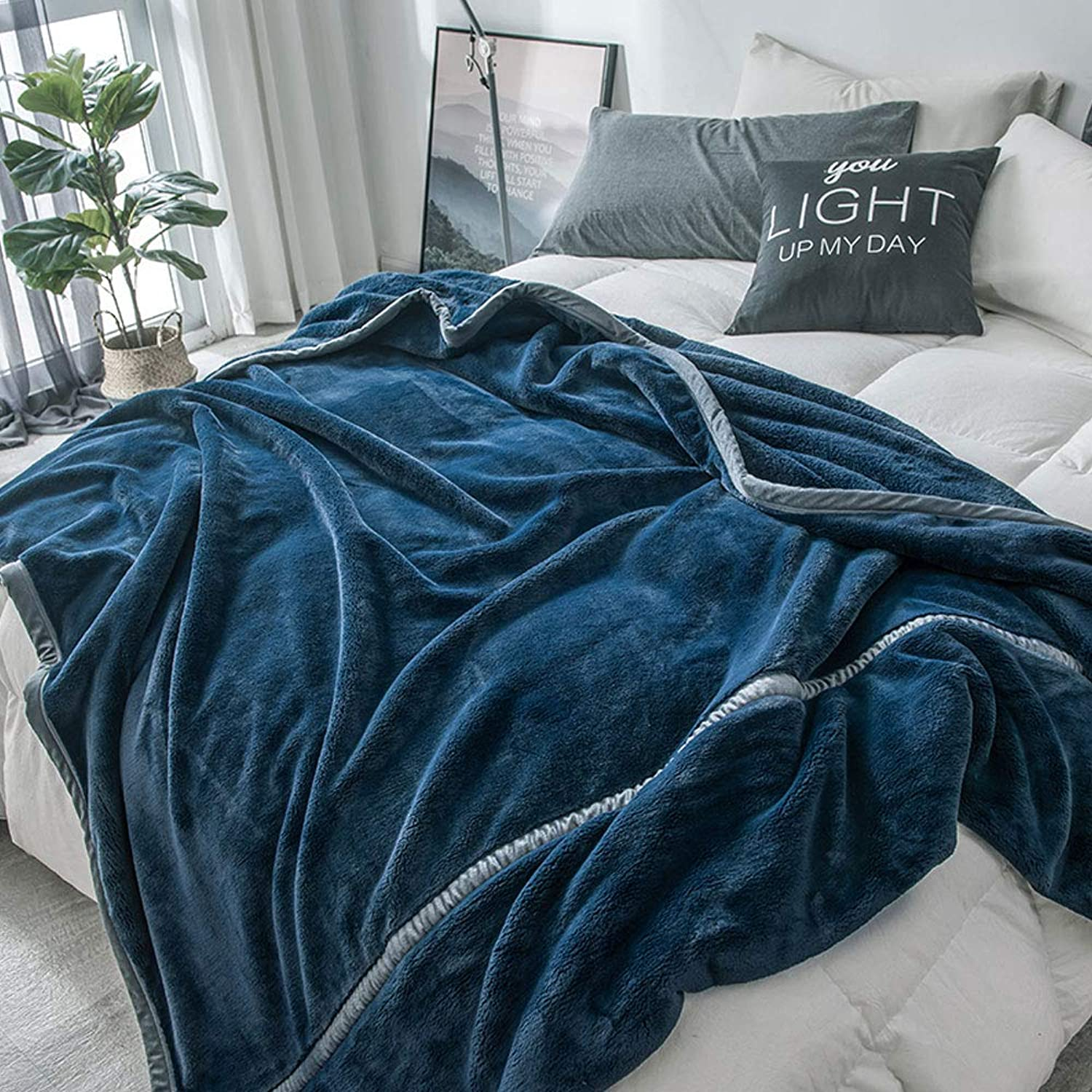 Blanket Thick Raschel Coral Velvet blanket Autumn and Winter Warm Flannel Sheets (color   Dark bluee, Size   59.06  78.74)