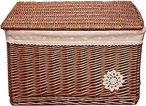 YAYADU Storage Basket High Capacity Rattan Baskets Finishing Box Toy Books Clothes Snacks Shoebox Table, Length X Width X ...