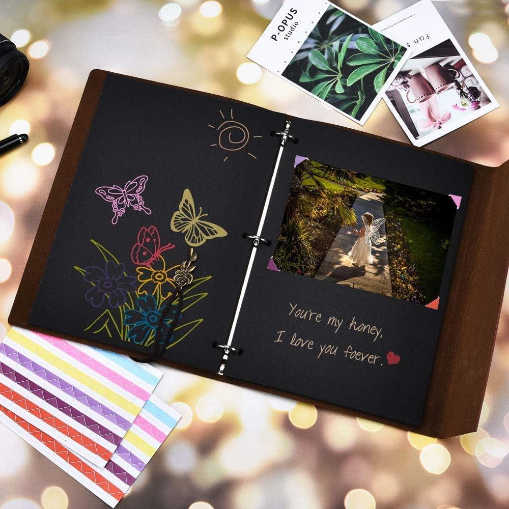 SEEHAN Photo Album Scrapbook,Leather Vintage Photo Albums Black Pages,DIY Wedding Memories Photo Book,Unisex Christmas Valentines Birthday for Women,Friends,Lovers