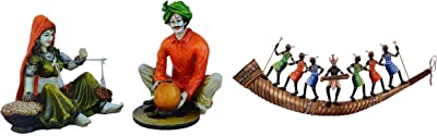 eCraftIndia Combo of Rajasthani Craftmen and Lady Statue ((No Suggestions) - 4Inx5Inx6In) & Dancing Tribals On Shehnai Wrought Iron Wall Hanging (58 cm X 3 cm X 18) Combo