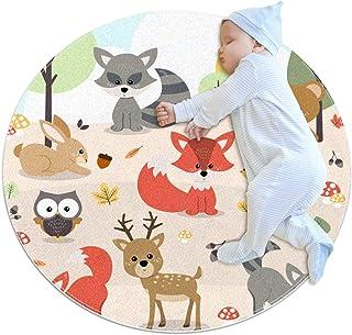 Carpettes Rondes diamètre 39,4 Pouces Animaux de la forêt Tapis Doux drôle antidérapant pour la décoration de Chambre à Co...