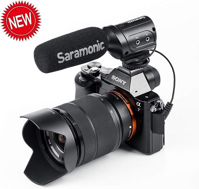 Saramonic SR-M3 - Micrófono de vídeo para Youtube y Entrevista con entrada de micrófono adicional y control de auriculares en tiempo real compatible con cámara Nikon Canon Sony DSLR videocámara