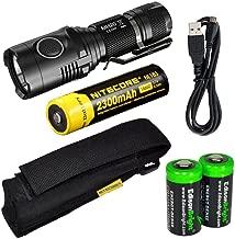 EdisonBright Nitecore MH20 CREE XM-L2 U2 LED 1000 Lumen USB Rechargeable Flashlight, Nitecore NL183 18650 rechargeable Li-ion battery, USB charging cable, Holster 2 X Cr123A lithium batteries bundle