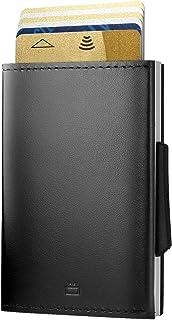 Ögon Smart Wallets - Cascade Slim Wallet - Portefeuille Automatique en Aluminium et Cuir - RFID Protection - Capacité 8 Ca...