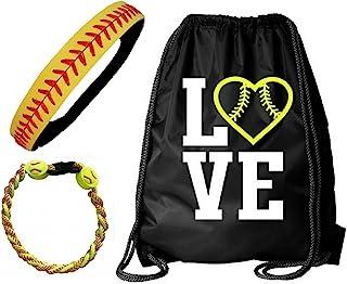 Kenz Laurenz Softball Headband Set - Leather Seamed Headbands Yellow Red Stitching, Softball Post Earrings, Softball Titanium Necklace, Softball Bow Hair Ties