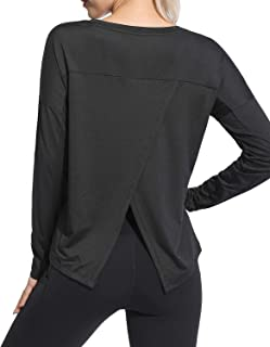 OUGES Women Workout Top Yoga Shirts Gym Tee Split Open Back