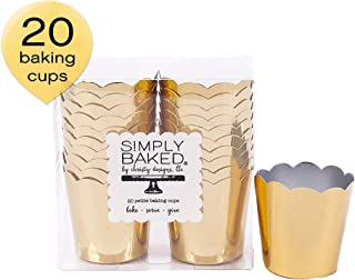 Simply Baked Petite Paper Baking Cups Metallic Gold 20-Pack Disposable and Oven-safe