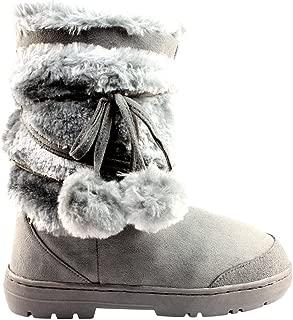 ALLAK Womens Pom Pom Winter Snow Boots