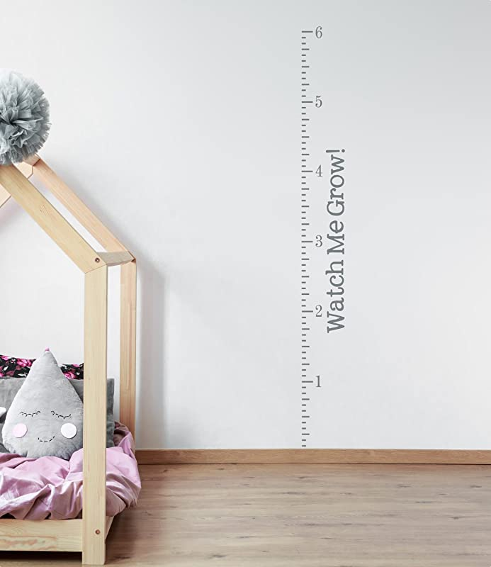 Watch Me Grow Growth Chart Vinyl Decal Kit Name Ticks And Numbers Vinyl Wall Art Decal For Home Or Nursery Child S Bedroom Gray