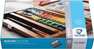 24 pojemniczki, delikatne farby akwarelowe Van Gogh, w drewnianym pudełku akwarelowym wraz z pędzlem i paletą do mieszania...