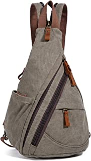 Canvas Sling Bag – Small Crossbody Backpack Shoulder Casual Daypack Rucksack for..