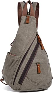Canvas Sling Bag - Small Crossbody Backpack Shoulder Casual Daypack for Men Women Outdoor Cycling Hiking Travel