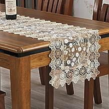 Yrhmdecor Beige Lace Table Runner Embroidered Dandelion Flowers 16 by 36 Inch, Beige